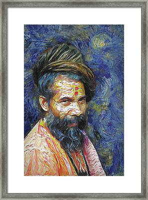 Hindu Sadhu In Van Gogh Style Framed Print