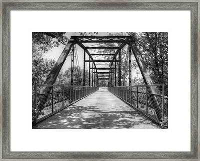 Hinkson Creek Bridge In Black And White Framed Print by Cricket Hackmann