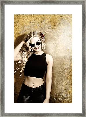 Hip Blond Fashion Model On Grunge Wall Framed Print