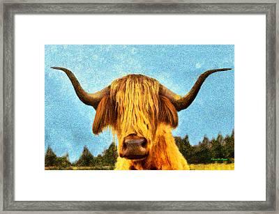 Hippie Cow - Pa Framed Print by Leonardo Digenio