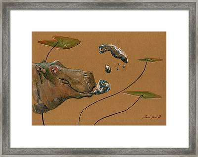 Hippo Bubbles Framed Print by Juan  Bosco