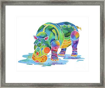 Hippo Heaven Framed Print by Jo Lynch