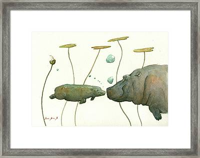 Hippo Mom With Babyv Framed Print by Juan Bosco