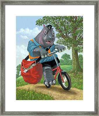 Hippo Post Man On Cycle Framed Print by Martin Davey