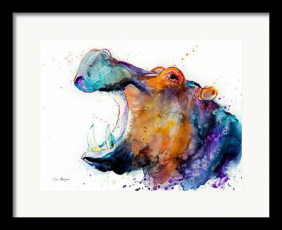 Hippopotamus Framed Prints