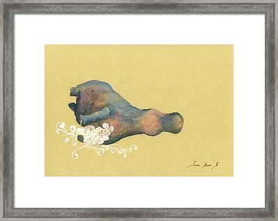 Hippo Swimming Framed Print
