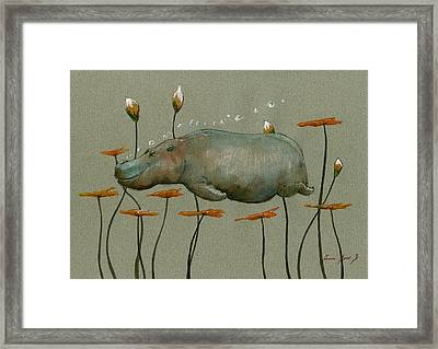 Hippo Underwater Framed Print by Juan  Bosco