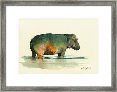 Hippo Watercolor Painting Framed Print