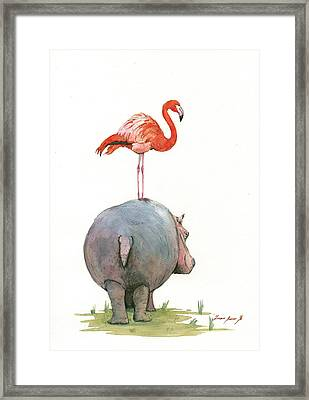 Hippo With Flamingo Framed Print by Juan Bosco