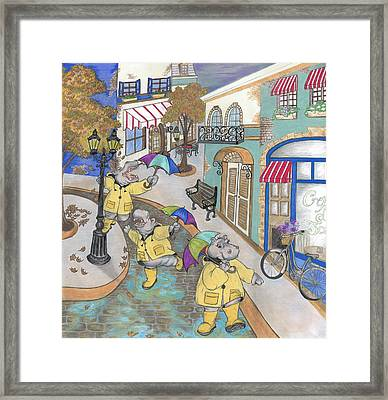 Hippos Dance In Rainy France Framed Print