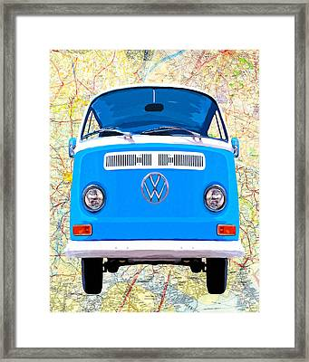 Hippy Van Travels - Classic Vw Bus Framed Print