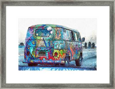 Hippy Vw Van Bus Pencil Framed Print by Edward Fielding