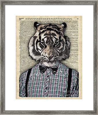 Hipster Tiger  Plaid Shirt Vintage Dictionary Art Beatnik Art Framed Print by Jacob Kuch