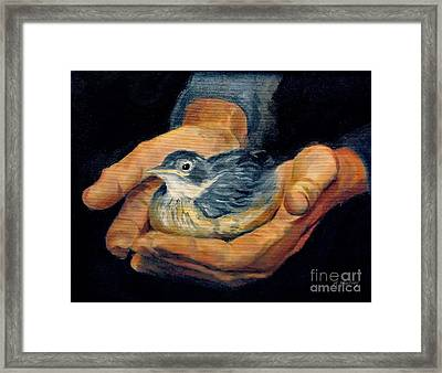 His Eye Is On The Sparrow Framed Print by Karen Winters