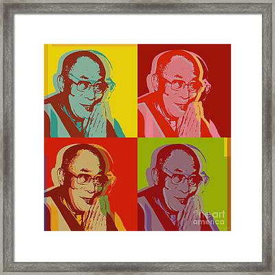 Framed Print featuring the digital art His Holiness The Dalai Lama Of Tibet by Jean luc Comperat