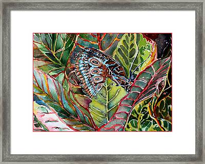His Monarch In Green And Red Framed Print by Mindy Newman