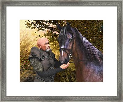 Framed Print featuring the digital art His Noble Steed by Jayne Wilson