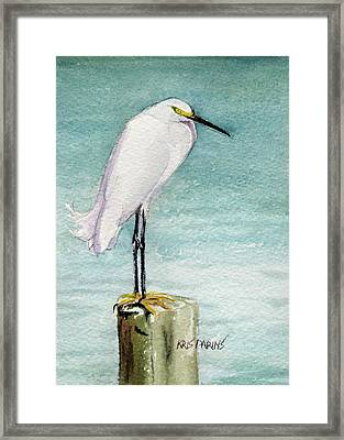 Framed Print featuring the painting His Post by Kris Parins