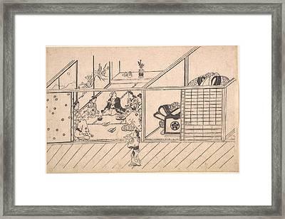 Hishikawa Moronobu    A Banquet In A Joroya Framed Print