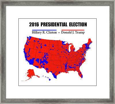 Historic 2016 Presidential Election - Black Border Framed Print by Daniel Hagerman