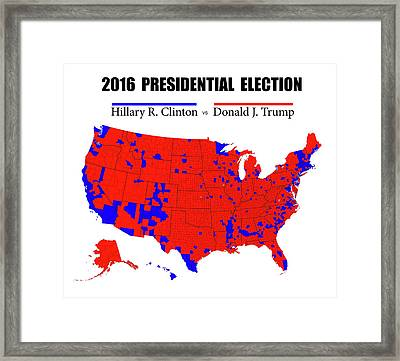 Historic 2016 Presidential Election Map Framed Print