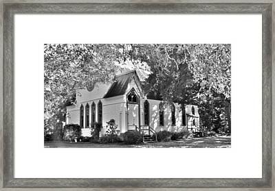 Historic Andrews Memorial Chapel Dunedin Florida Black And White Framed Print by Lisa Wooten
