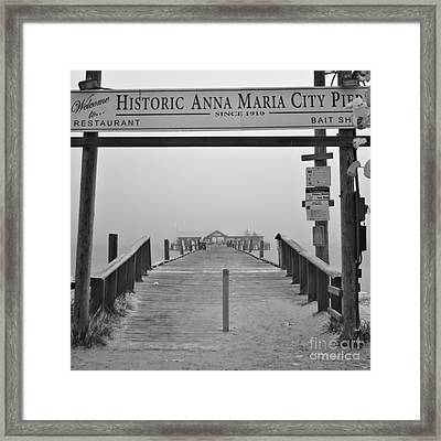 Historic Anna Maria City Pier In Fog Infrared 52 Framed Print by Rolf Bertram