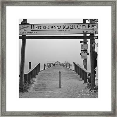 Historic Anna Maria City Pier In Fog Infrared 52 Framed Print