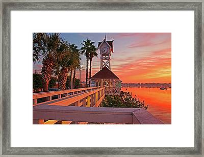 Historic Bridge Street Pier Sunrise Framed Print