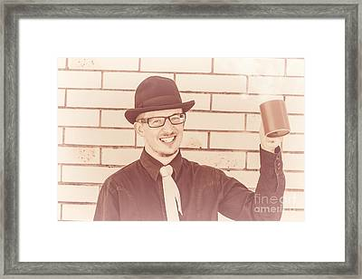 Historic Drinks Shop Man Framed Print by Jorgo Photography - Wall Art Gallery