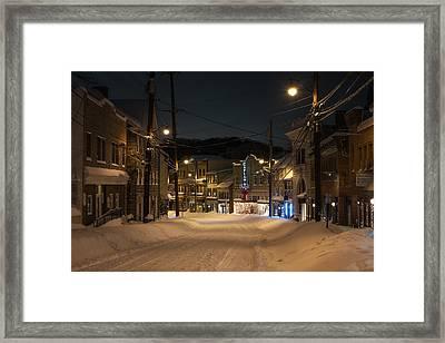 Historic Ellicott City In Snow Framed Print