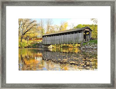 Historic Fallasburg Covered Bridge Framed Print by Terri Gostola