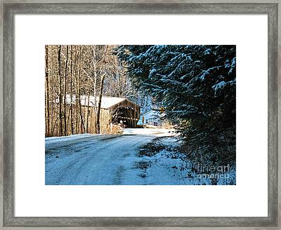 Historic Grist Mill Covered Bridge Framed Print