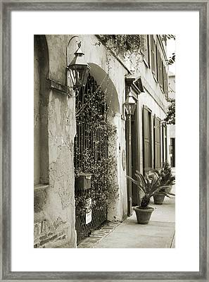 Historic Home Wrought Iron Gate Charleston Sepia Framed Print by Dustin K Ryan