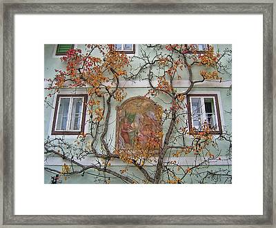 Historic House Facade In Bad Goisern Hallstatt Salzkammergut Aus Framed Print