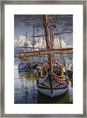 Historic Jamestown Ships Framed Print by Randall Nyhof