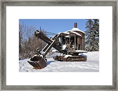 Historic Mining Steam Shovel During Alaska Winter Framed Print