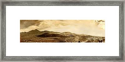 Historic Mountain Landscape In Sepia Tone Framed Print