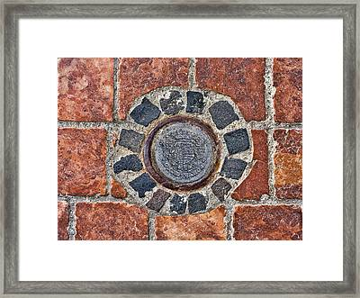 Framed Print featuring the photograph Historic Pavement Detail With Hungarian Town Seal by Menega Sabidussi