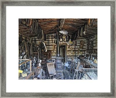 Historic Saddlery Shop - Montana Territory Framed Print by Daniel Hagerman