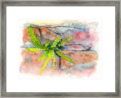 Framed Print featuring the painting Historic Savannah Wall Weed by Doris Blessington