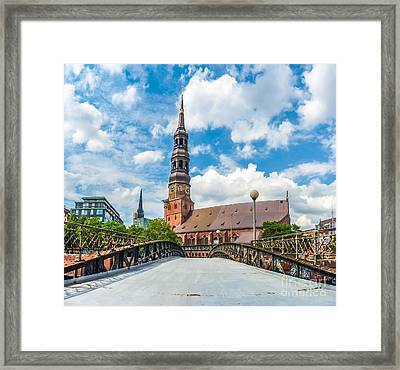 Historic St. Catherine's Church In Hamburg, Germany Framed Print by JR Photography
