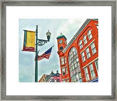 Framed Print featuring the photograph Historic Staunton Virginia - The Clocktower - Art Of The Small Town by Kerri Farley