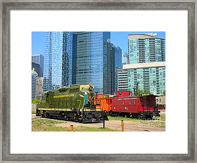 Historic Train Engine And Caboose At Roundhouse Park Toronto Framed Print by John Malone