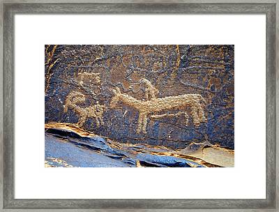 Historic Ute Pectroglyph At Courthouse Wash Framed Print