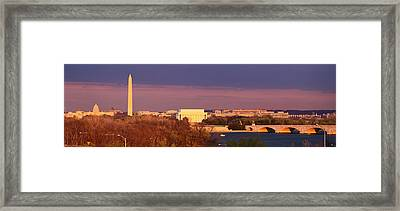 Historic Washington Dc Skyline At Dusk Framed Print by Panoramic Images