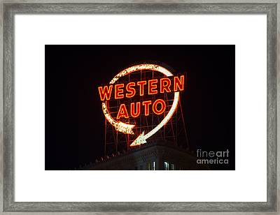 Historic Western Auto Sign Framed Print