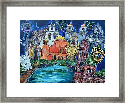 Framed Print featuring the painting Historical 401s San Antonio by Patti Schermerhorn