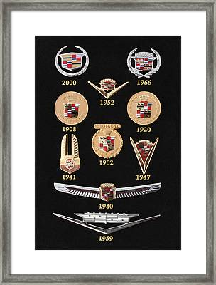 Historical Display Cadillac Crests Emblems Framed Print