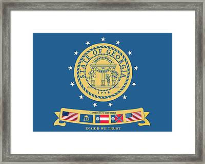 Historical Flag Of Georgia Framed Print by American School
